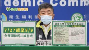 中央宣布7/27至8/9日 疫情警戒調降第二級